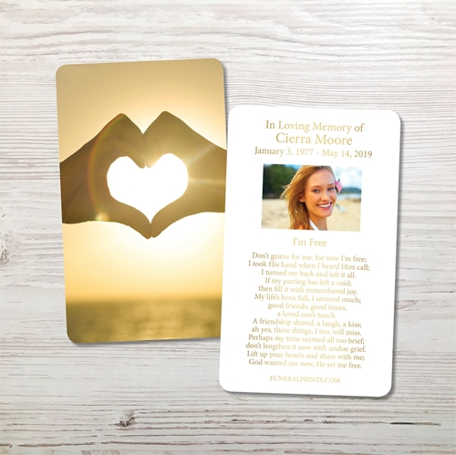 Picture of Heart Hands Gold Foil Memorial Card