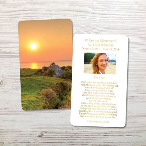 Picture of Irish Cottage Gold Foil Memorial Card