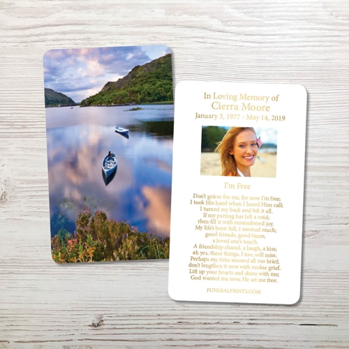 Picture of Canoe on Lake in Killareny Gold Foil Memorial Card