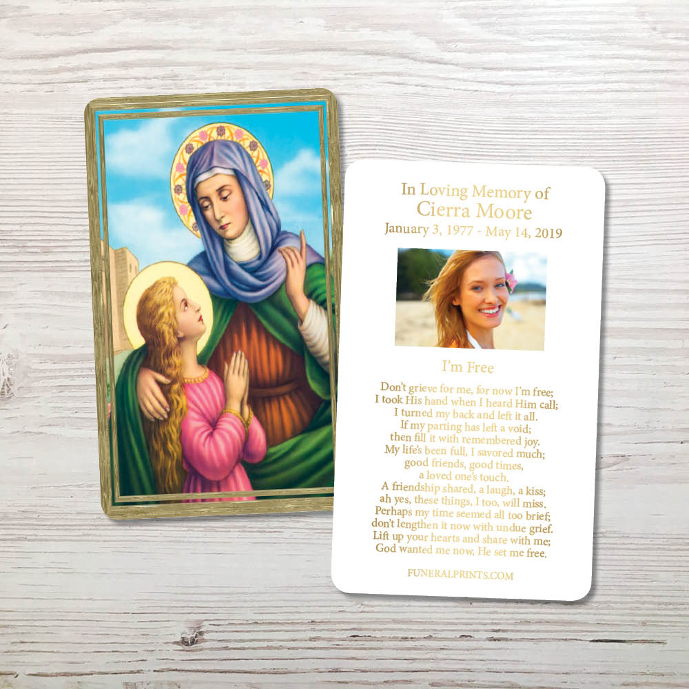 Picture of St. Anne Gold Foil Memorial Card