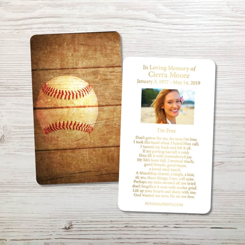 Picture of Baseball Gold Foil Memorial Card