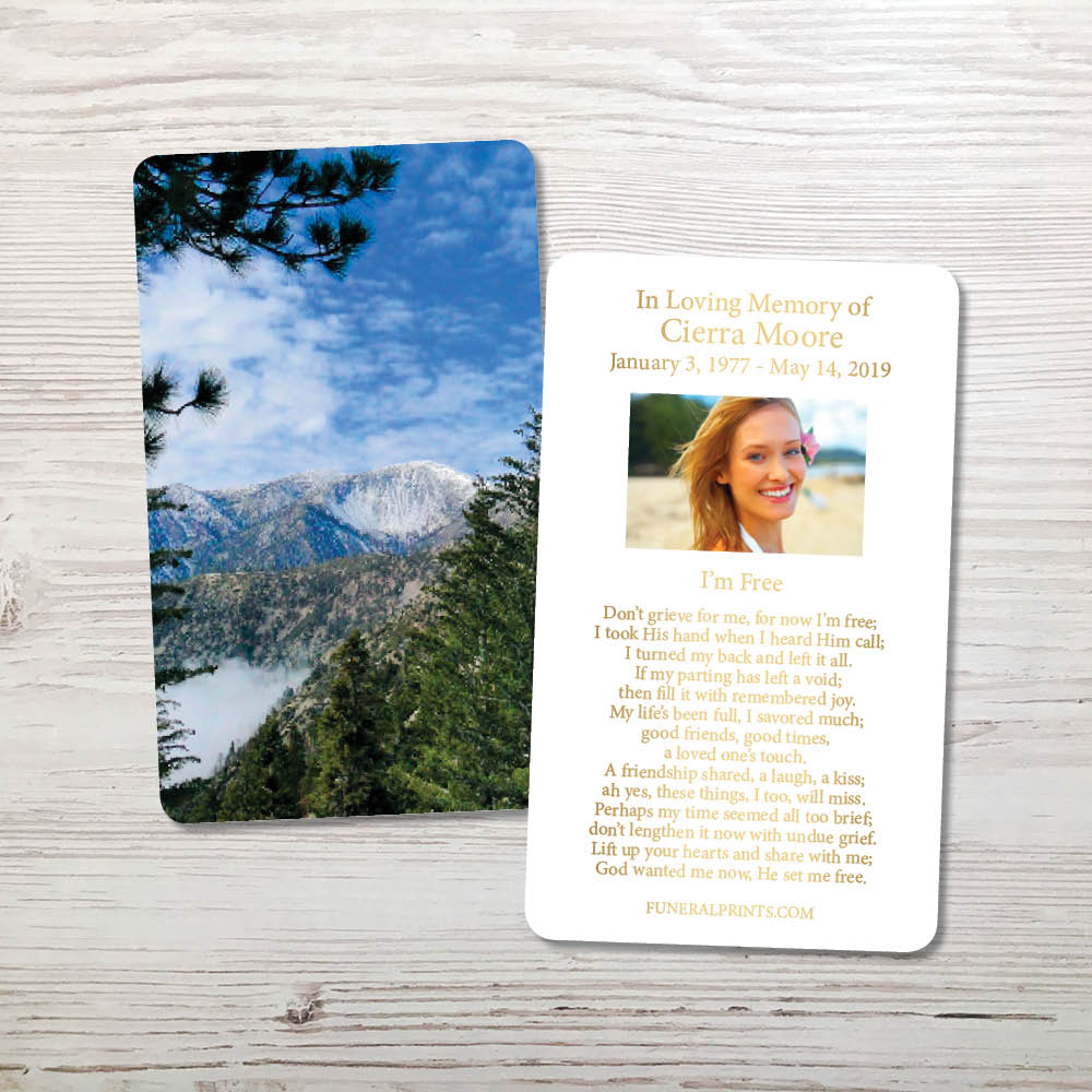 Picture of Mountains Gold Foil Memorial Card