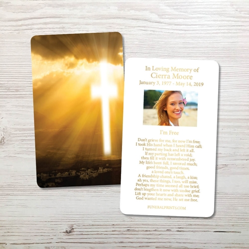 Picture of Cross in Sky Gold Foil Memorial Card