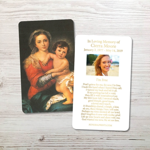 Picture of Mary & Baby Jesus 3 Gold Foil Memorial Card