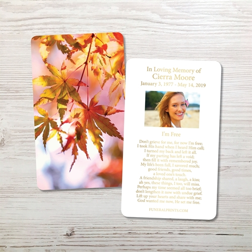 Picture of Leaves of Fall Gold Foil Memorial Card