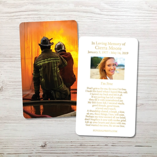 Picture of Fireman Fighting Flames Gold Foil Memorial Card