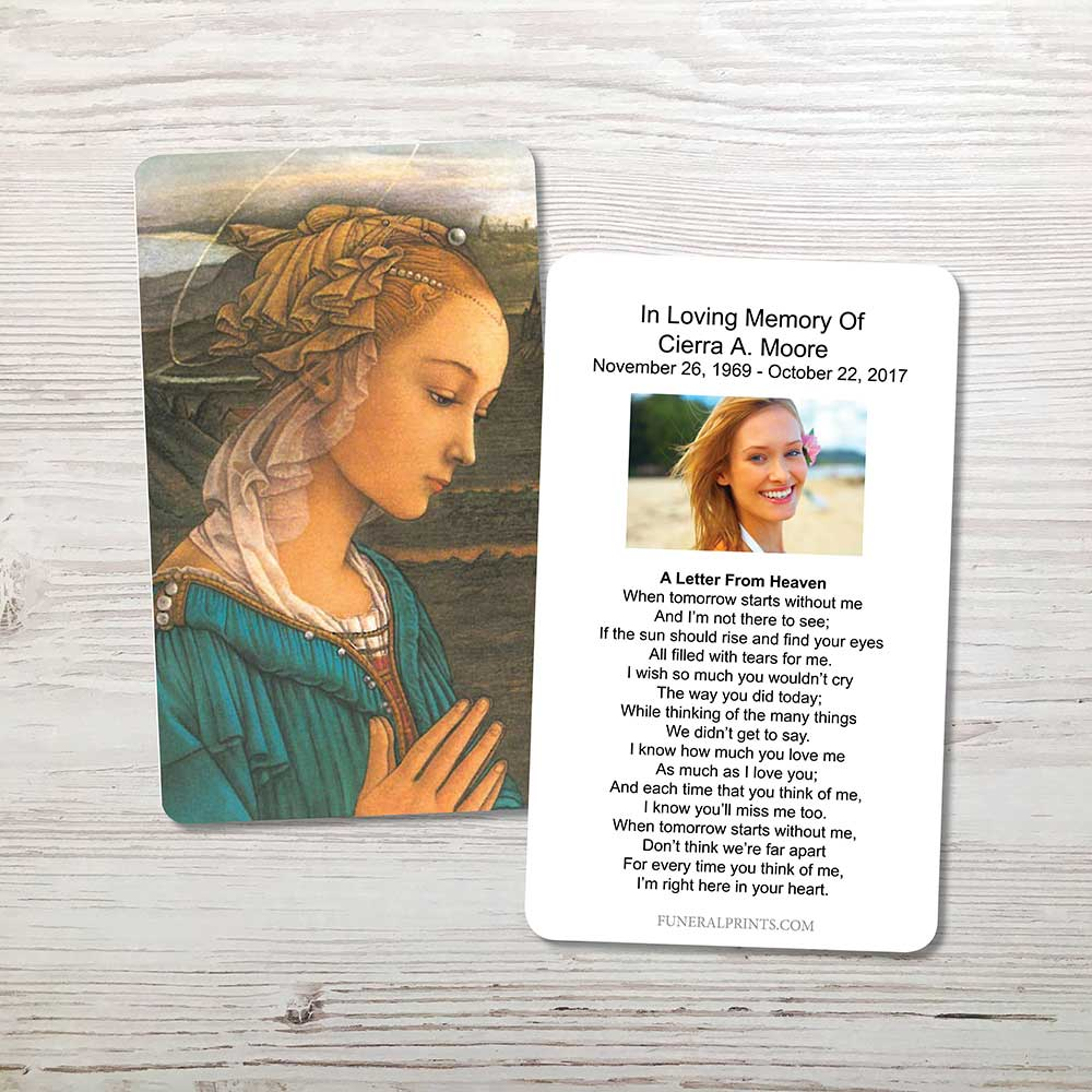 Picture of Mary 2 Gold Foil Memorial Card