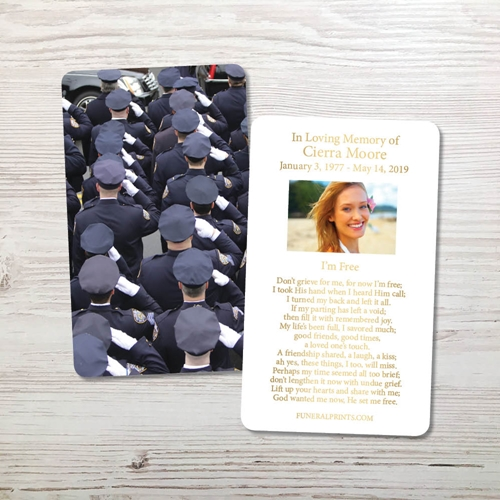 Picture of Police Salute Gold Foil Memorial Card