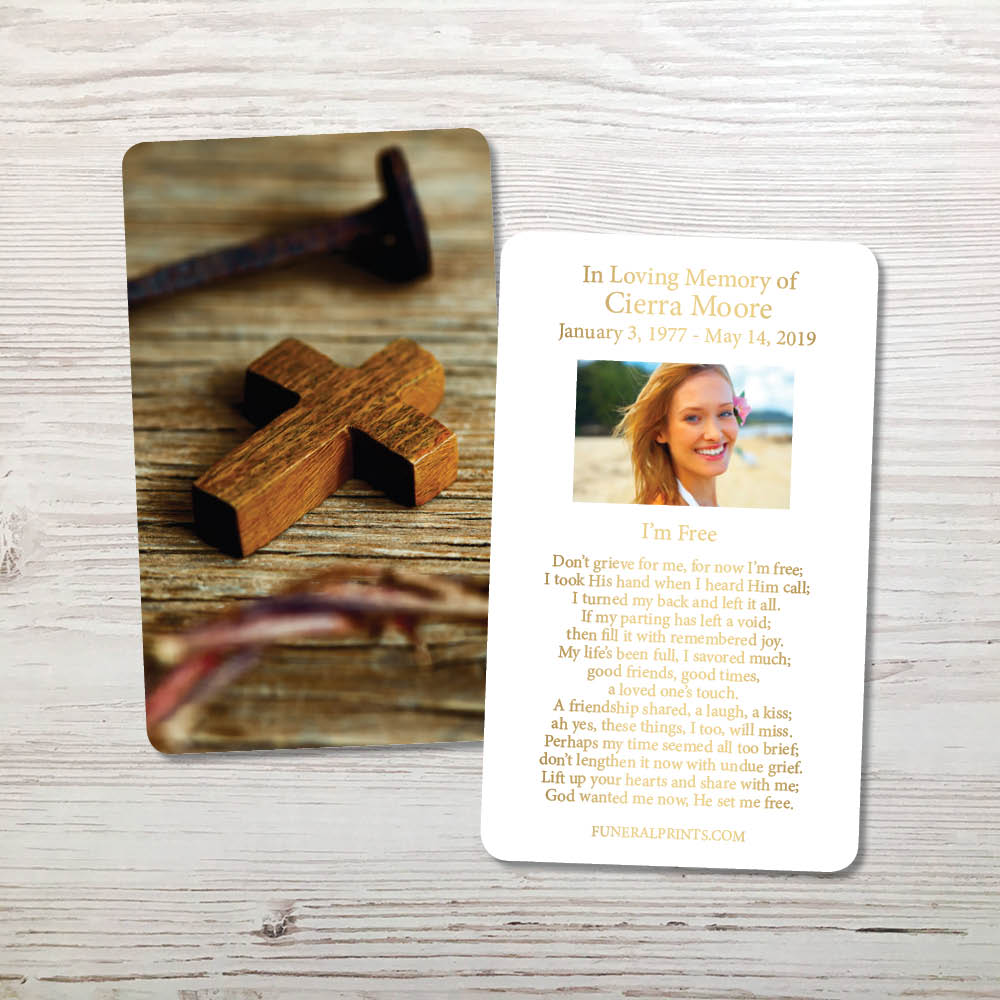 Picture of Cross & Nail Gold Foil Memorial Card