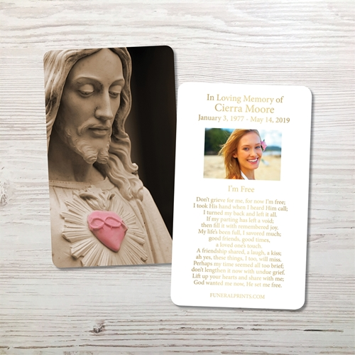 Picture of Sacred Heart Gold Foil Memorial Card