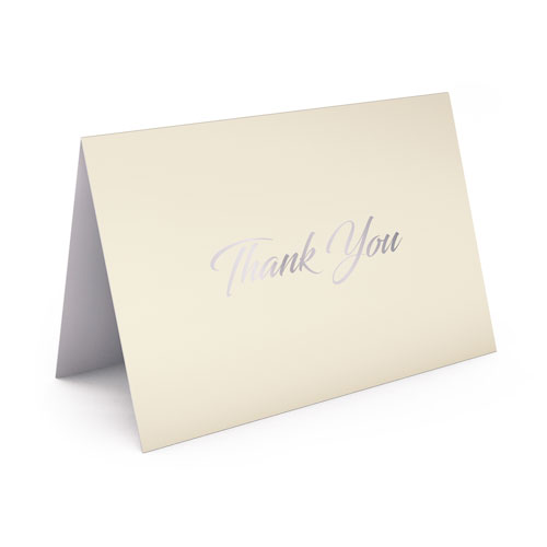 Picture of Cream Card with Silver Foil Thank You Card