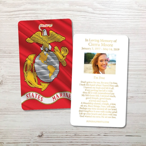 Picture of Marine Flag Gold Foil Memorial Card