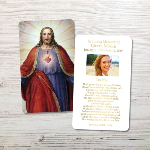 Picture of Jesus Sacred Heart Gold Foil Memorial Card
