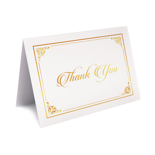 Picture of Classic White with Gold Foil Thank You Card