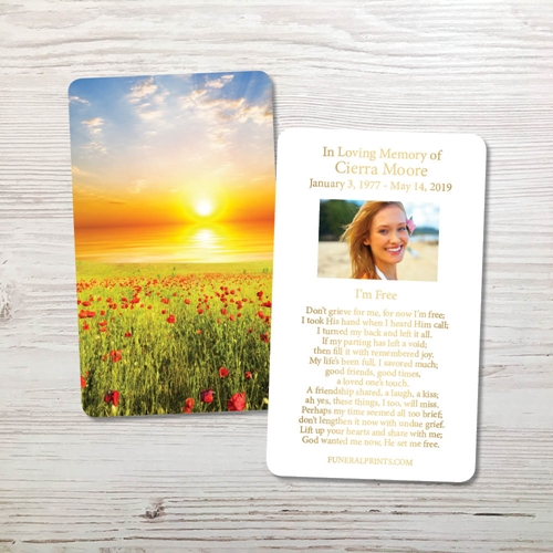 Picture of Sunset Field Gold Foil Memorial Card