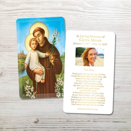 Picture of St. Anthony Gold Foil Memorial Card