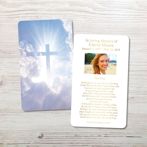 Picture of Cross in the Clouds Gold Foil Memorial Card
