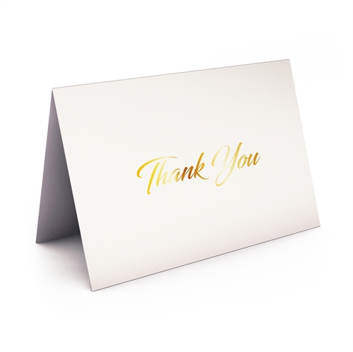 Picture of White with Gold Foil Thank You Card