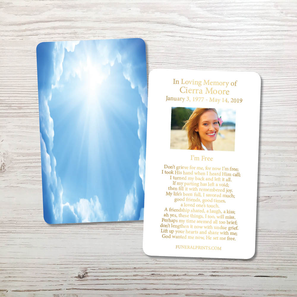 Picture of Blue Clouds Gold Foil Memorial Card