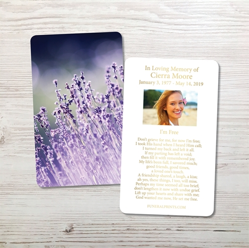 Picture of Lavender Lights Gold Foil Memorial Card