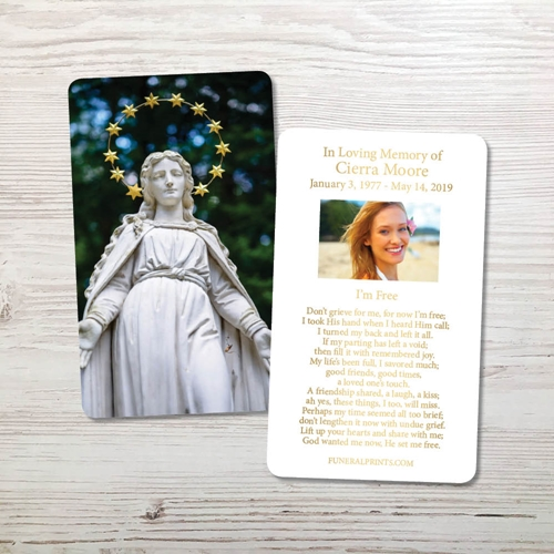 Picture of Statue of Virgin Gold Foil Memorial Card