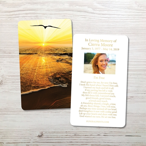 Picture of Sunset Seagull Gold Foil Memorial Card
