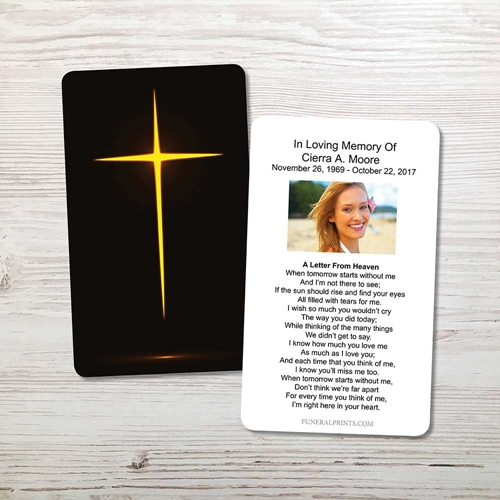 Picture of Glowing Cross Memorial Card