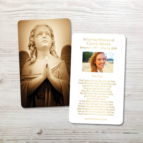 Picture of Sepia Angel Gold Foil Memorial Card