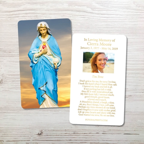 Picture of Virgin Mary Sky 2 Gold Foil Memorial Card