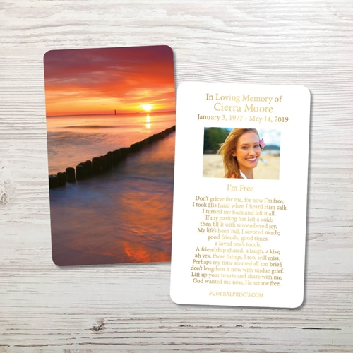 Picture of Sunset Bay Gold Foil Memorial Card
