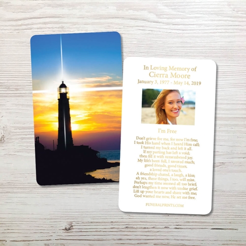 Picture of Lighthouse Gold Foil Memorial Card