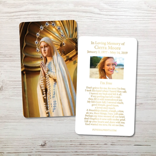 Picture of Statue of Blessed Virgin Gold Foil Memorial Card