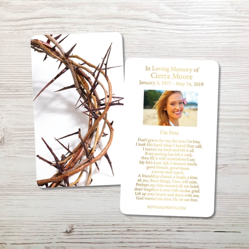 Picture of Crown of Thorns Gold Foil Memorial Card