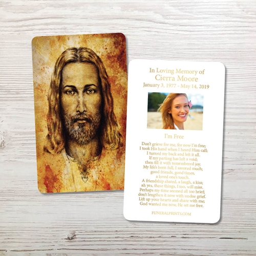 Picture of Jesus Gold Foil Memorial Card