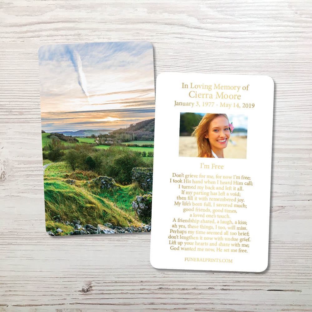 Picture of Irish Landscape Gold Foil Memorial Card