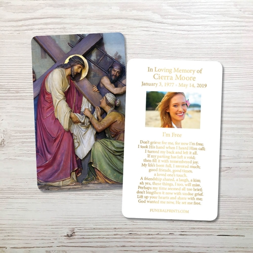 Picture of Jesus Carrying Cross 2 Gold Foil Memorial Card