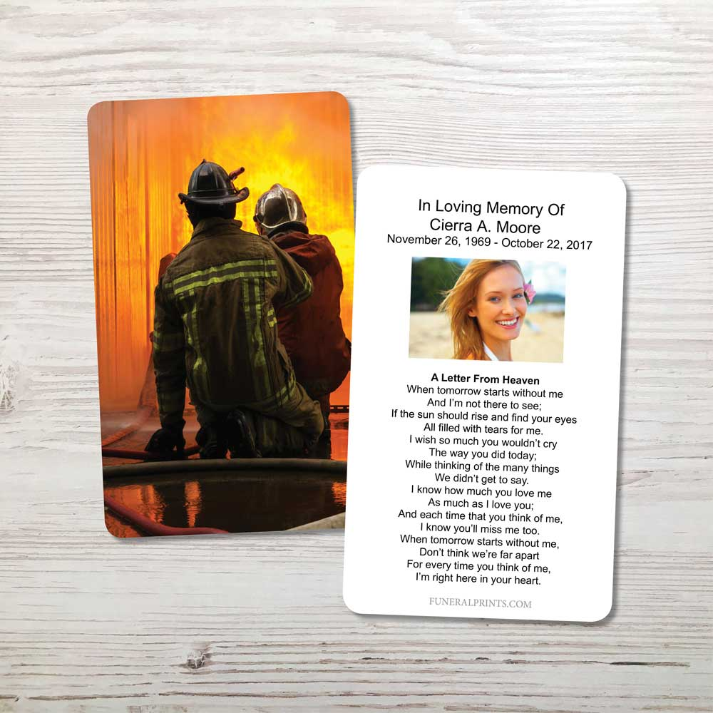 Picture of Fireman Fighting Flames Memorial Card