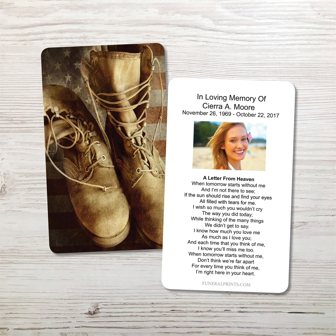 Picture of Flag & Boots 2 Memorial Card