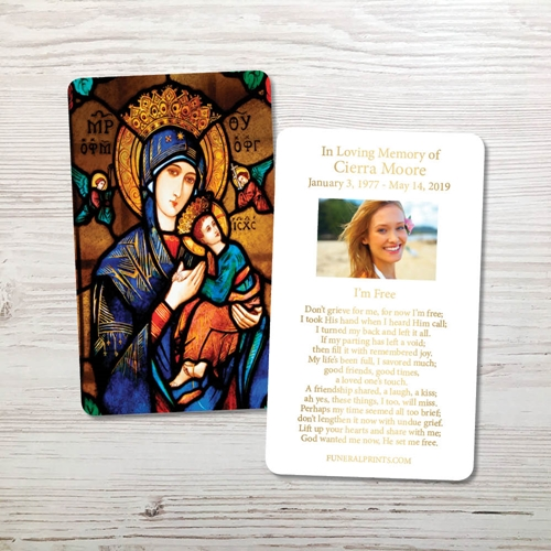Picture of Our Lady Gold Foil Memorial Card