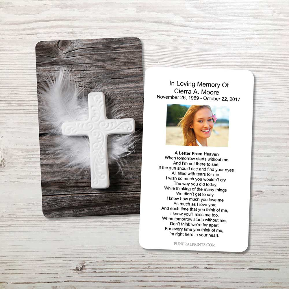 Picture of Cross & Feather Memorial Card