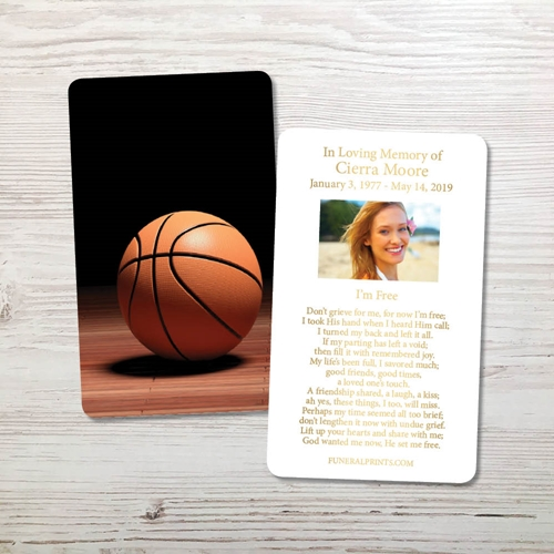 Picture of Basketball Gold Foil Memorial Card