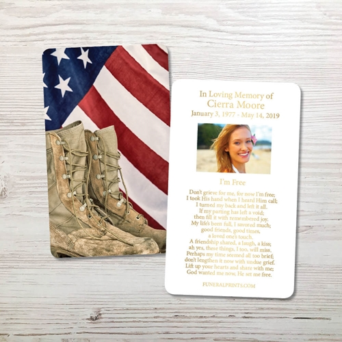 Picture of Flag & Boots Gold Foil Memorial Card