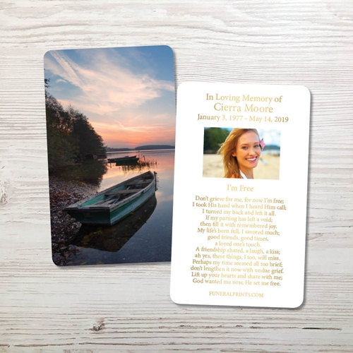Picture of Lake Sunrise Gold Foil Memorial Card