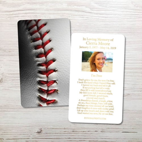 Picture of Baseball 3 Gold Foil Memorial Card