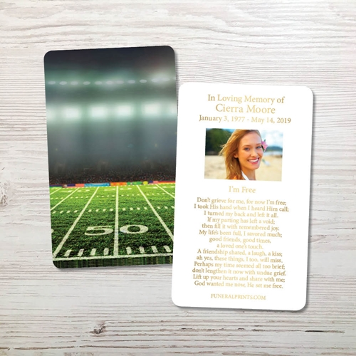 Picture of Football Field Gold Foil Memorial Card