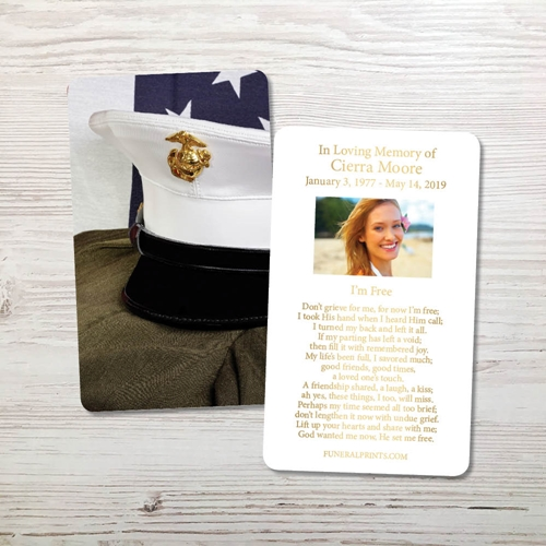 Picture of Marine Cap Gold Foil Memorial Card