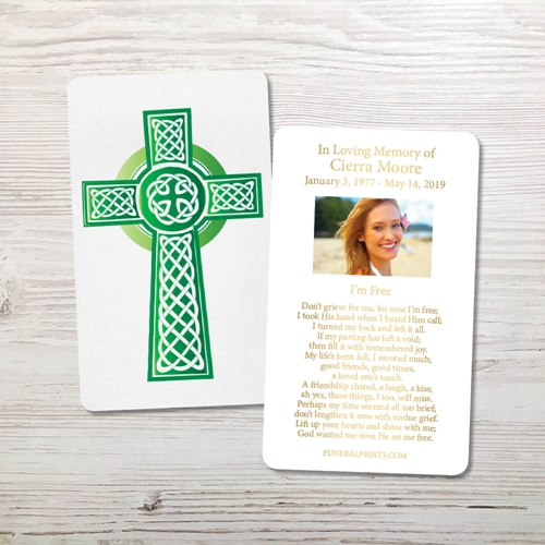 Picture of Green Celtic Cross Gold Foil Memorial Card