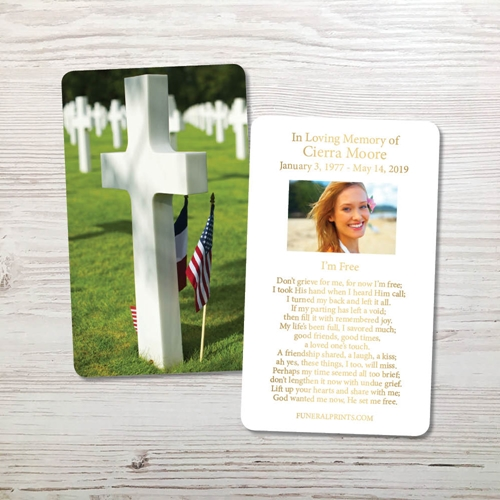 Picture of Cross Military Cemetary Gold Foil Memorial Card