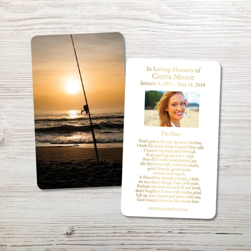 Picture of Fishing Pole Gold Foil Memorial Card