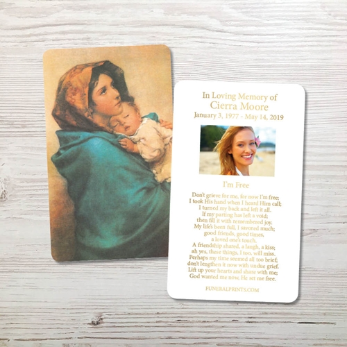 Picture of Mary & Baby Jesus 2 Gold Foil Memorial Card